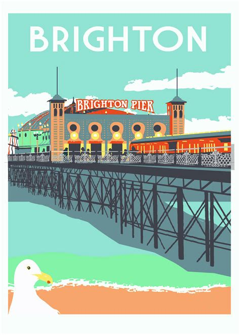 brighton pier screen print by red faces prints